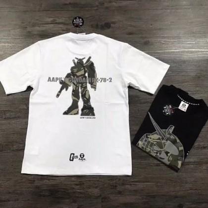 100% Authentic Bape's Aape X Gundam Rx-78 Collaboration Shirt-White