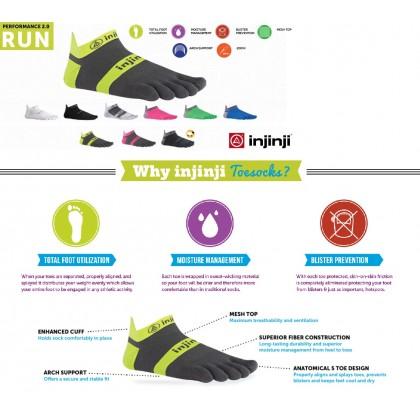 Injinji Run Lightweight No-Show Spectrum Half Tone Berry Toe Socks -Size M