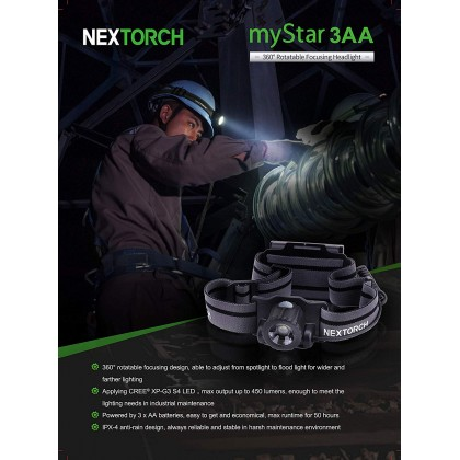 NEXTORCH myStar 3AA 450Lumens Headlamp
